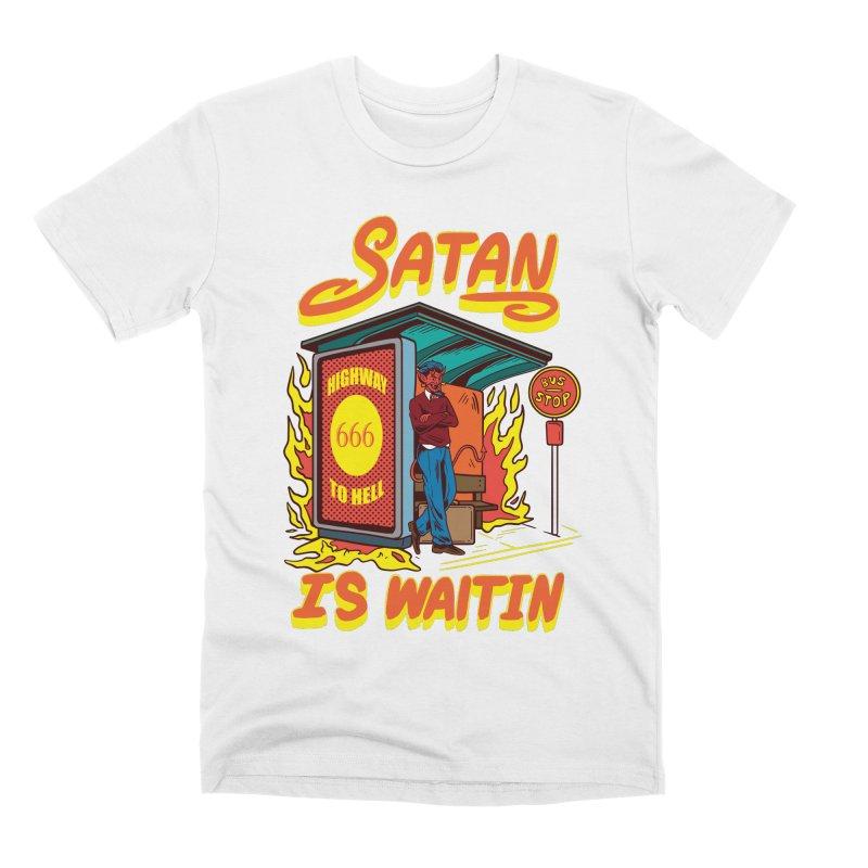 Satan Is Waiting Men's T-Shirt by Saucy Robot