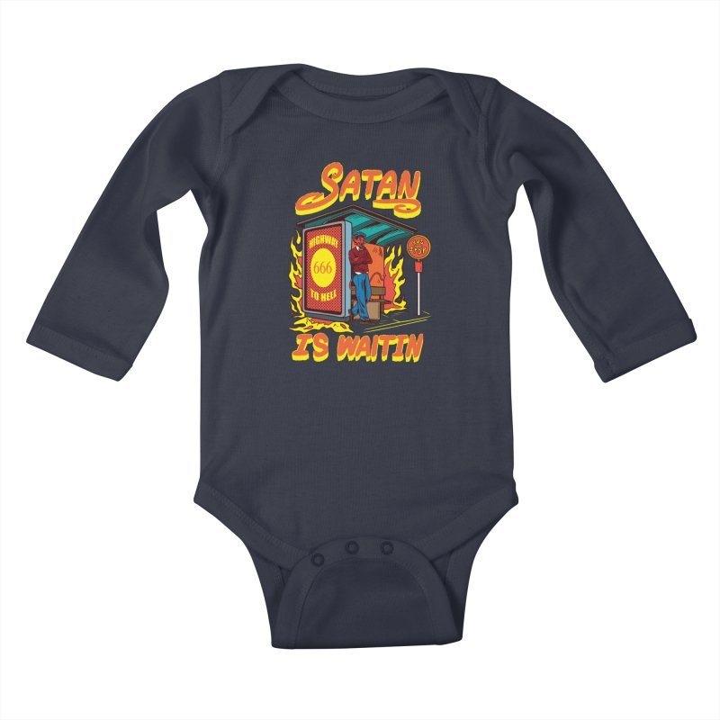 Satan Is Waiting Kids Baby Longsleeve Bodysuit by Saucy Robot