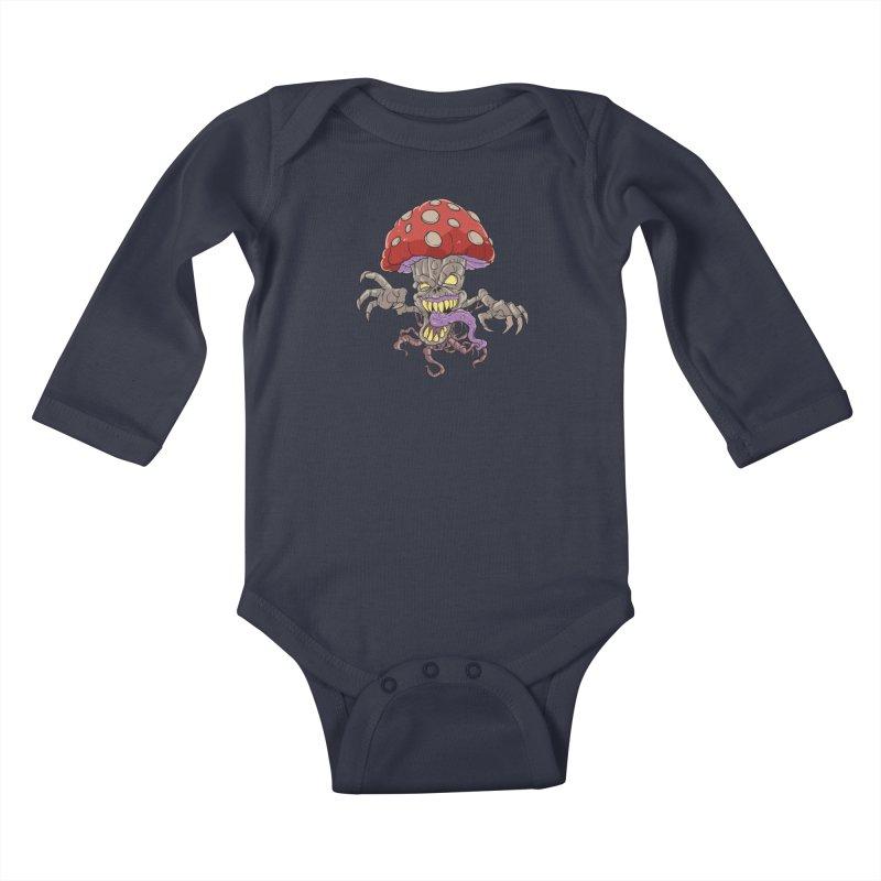 Bad Mushroom Trip Kids Baby Longsleeve Bodysuit by Saucy Robot