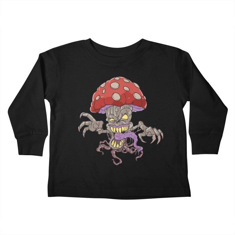 Bad Mushroom Trip Kids Toddler Longsleeve T-Shirt by Saucy Robot