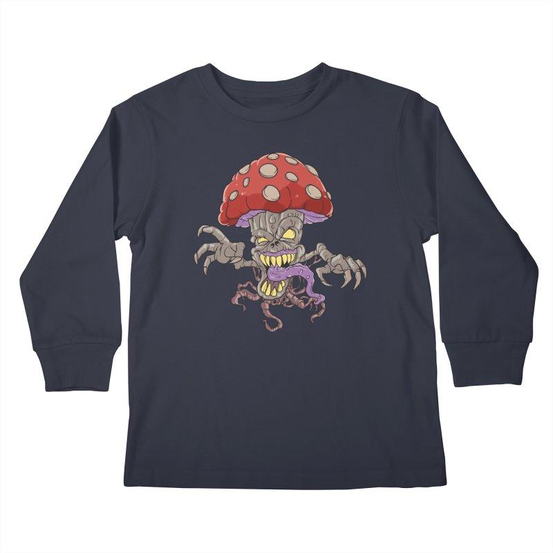 Bad Mushroom Trip Kids Longsleeve T-Shirt by Saucy Robot