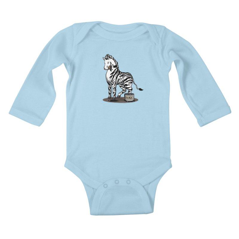 Making Of A Zebra Kids Baby Longsleeve Bodysuit by Saucy Robot