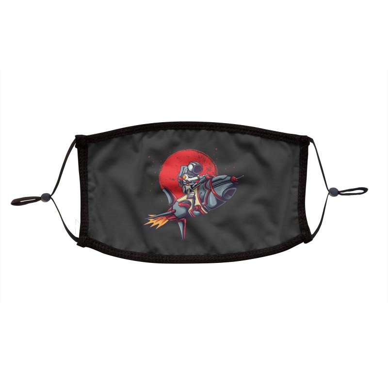 Rocket Riding Astronaut Accessories Face Mask by Saucy Robot