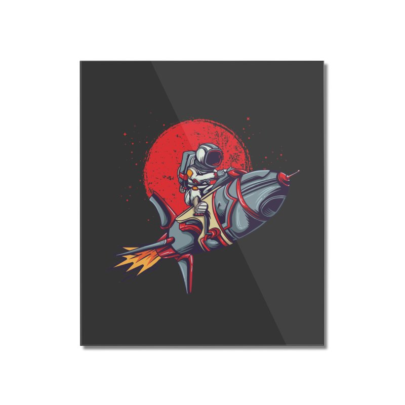 Rocket Riding Astronaut Home Decor Mounted Acrylic Print by Saucy Robot