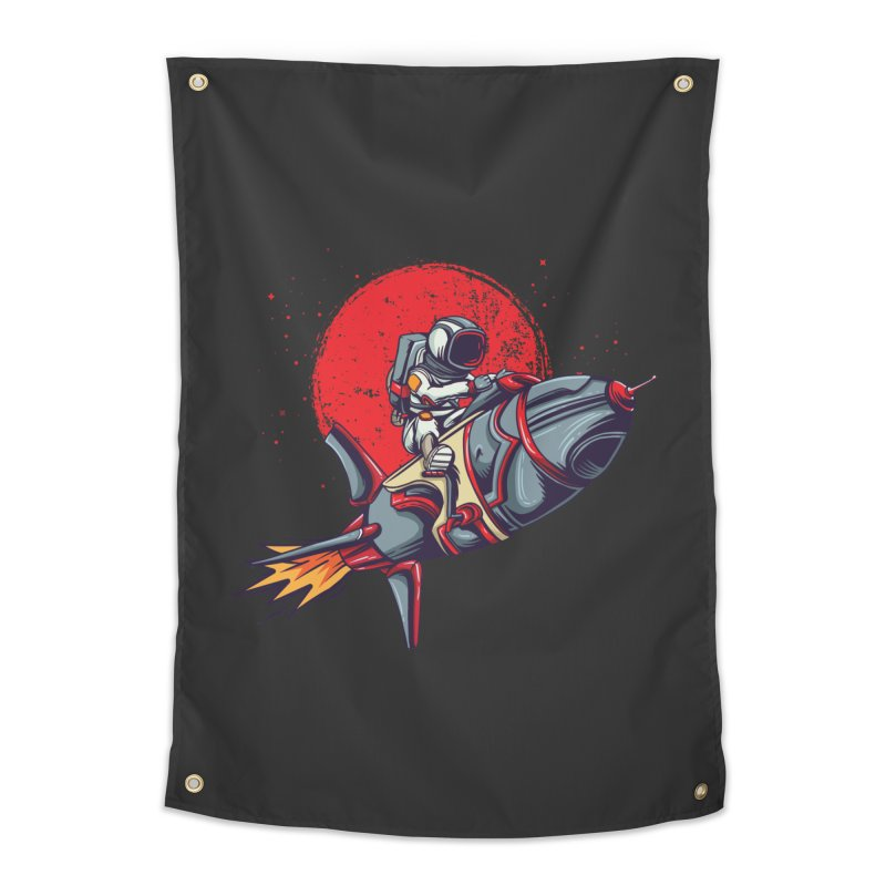 Rocket Riding Astronaut Home Decor Tapestry by Saucy Robot