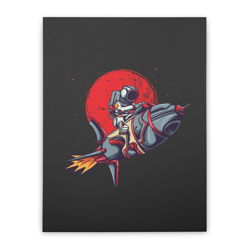 Rocket Riding Astronaut Home Decor Stretched Canvas by Saucy Robot