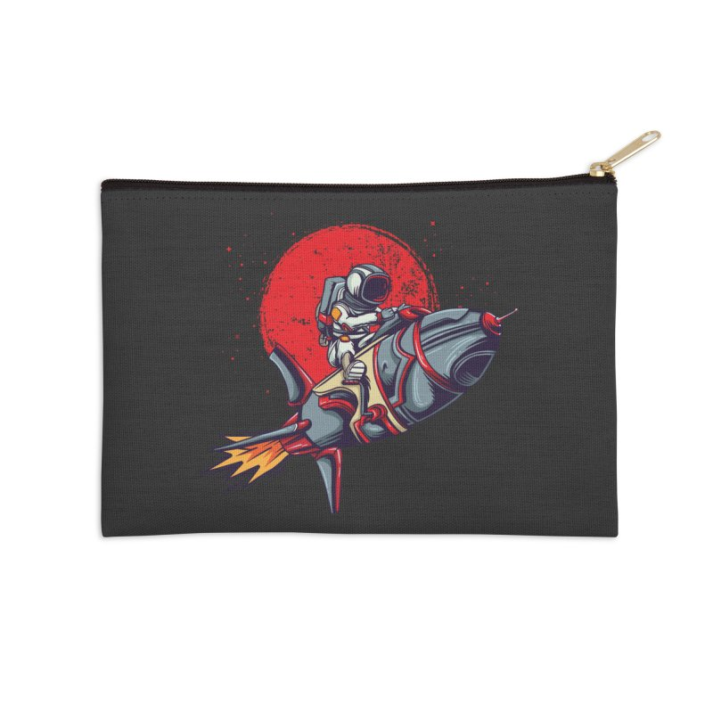 Rocket Riding Astronaut Accessories Zip Pouch by Saucy Robot