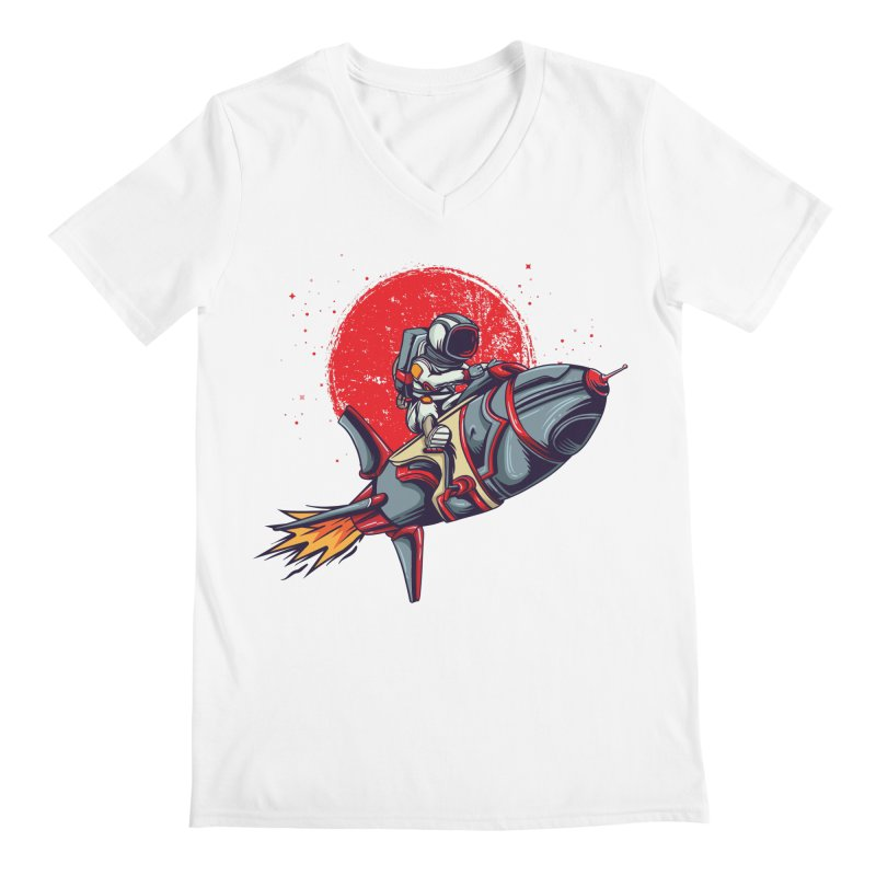 Rocket Riding Astronaut Men's V-Neck by Saucy Robot