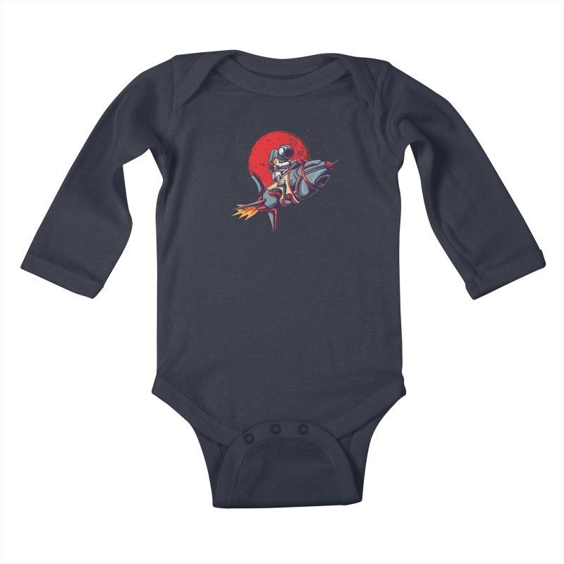 Rocket Riding Astronaut Kids Baby Longsleeve Bodysuit by Saucy Robot
