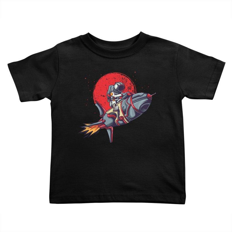 Rocket Riding Astronaut Kids Toddler T-Shirt by Saucy Robot