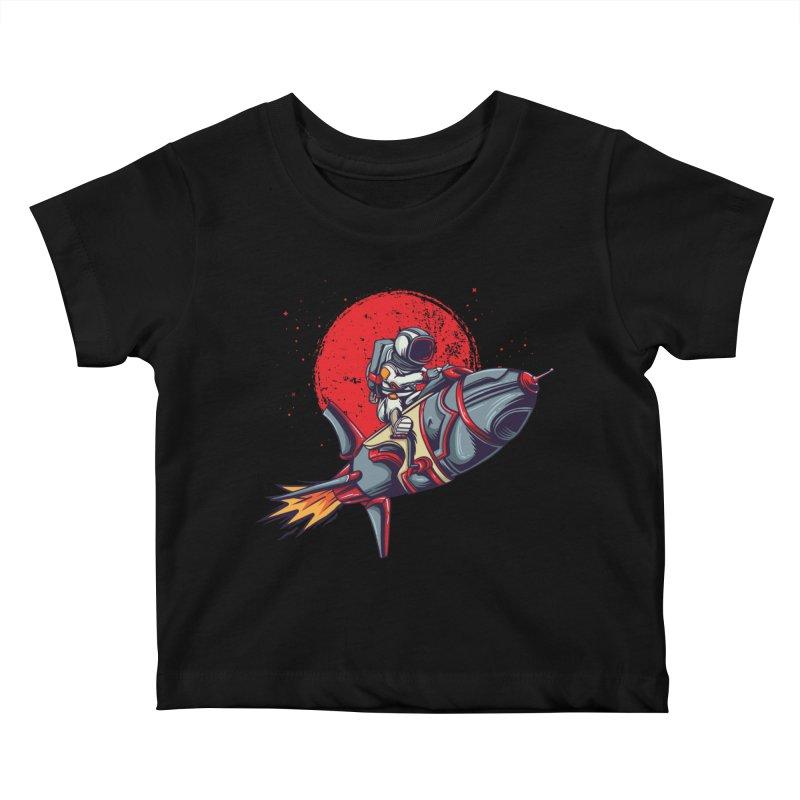 Rocket Riding Astronaut Kids Baby T-Shirt by Saucy Robot