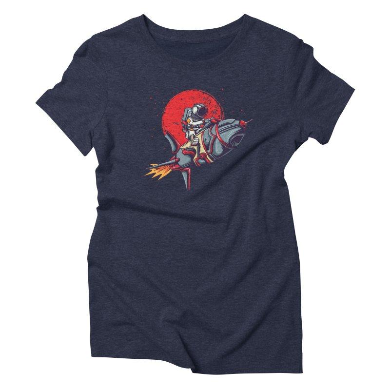 Rocket Riding Astronaut Women's T-Shirt by Saucy Robot