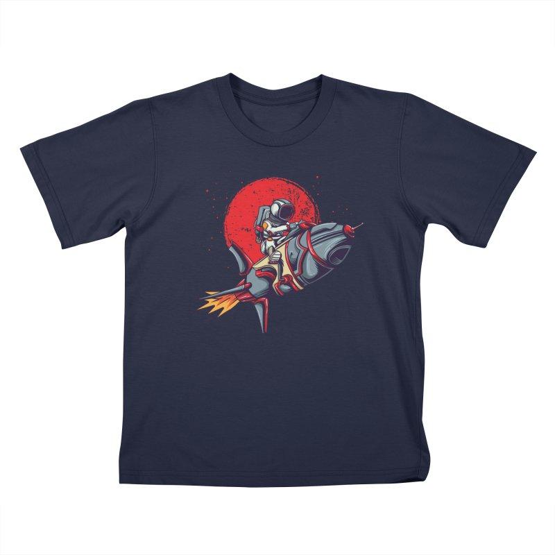 Rocket Riding Astronaut Kids T-Shirt by Saucy Robot