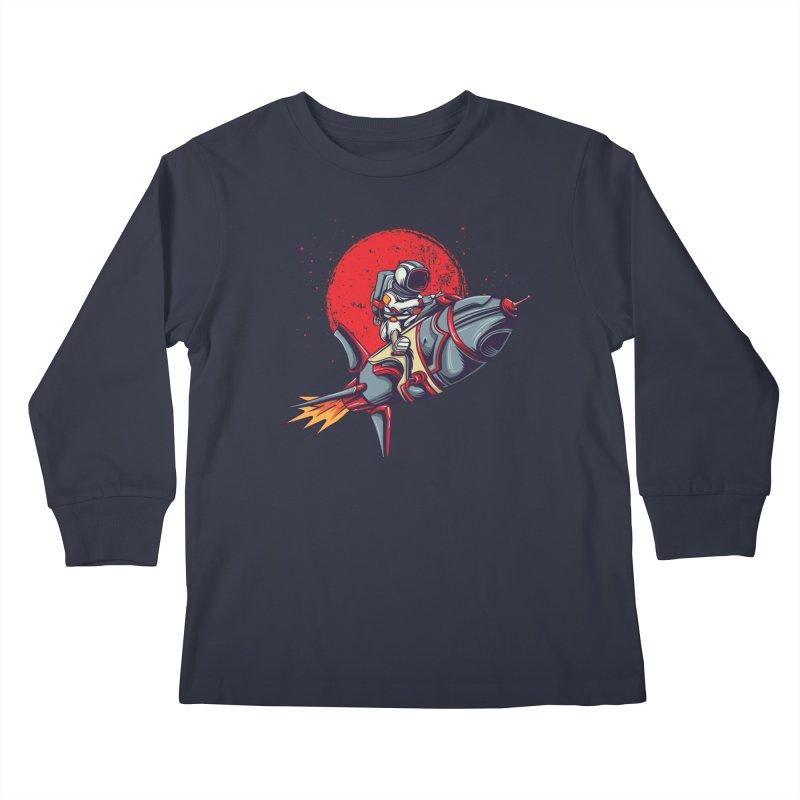 Rocket Riding Astronaut Kids Longsleeve T-Shirt by Saucy Robot