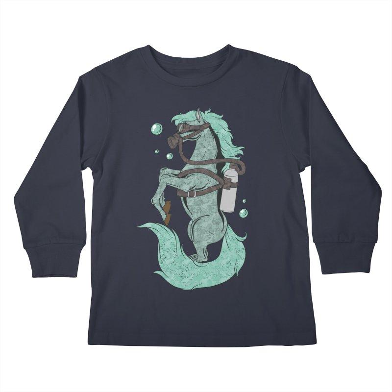 Sea Horse Kids Longsleeve T-Shirt by Saucy Robot