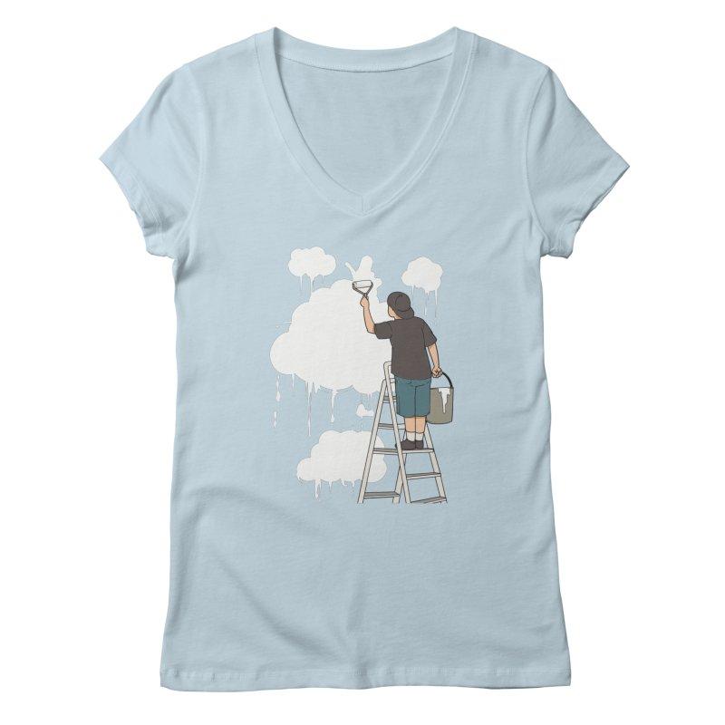 Cloud Painter Women's V-Neck by Saucy Robot