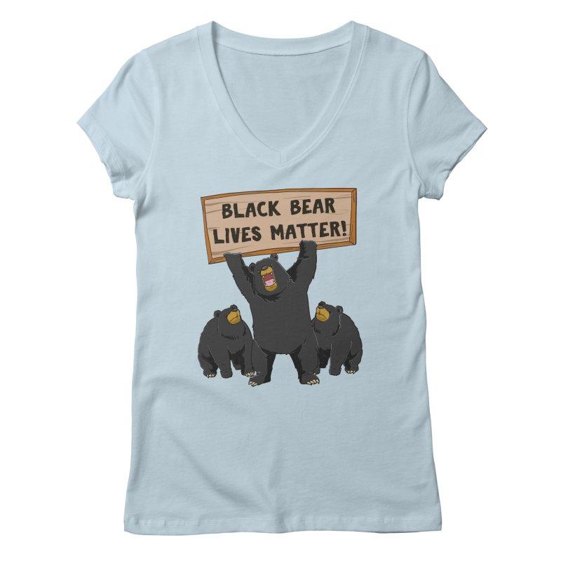 Black Bear Lives Matter Women's V-Neck by Saucy Robot
