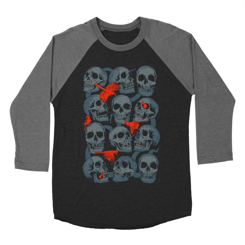 Skulls and Cardinals Men's Baseball Triblend T-Shirt by Saulo Alonso's Artist Shop