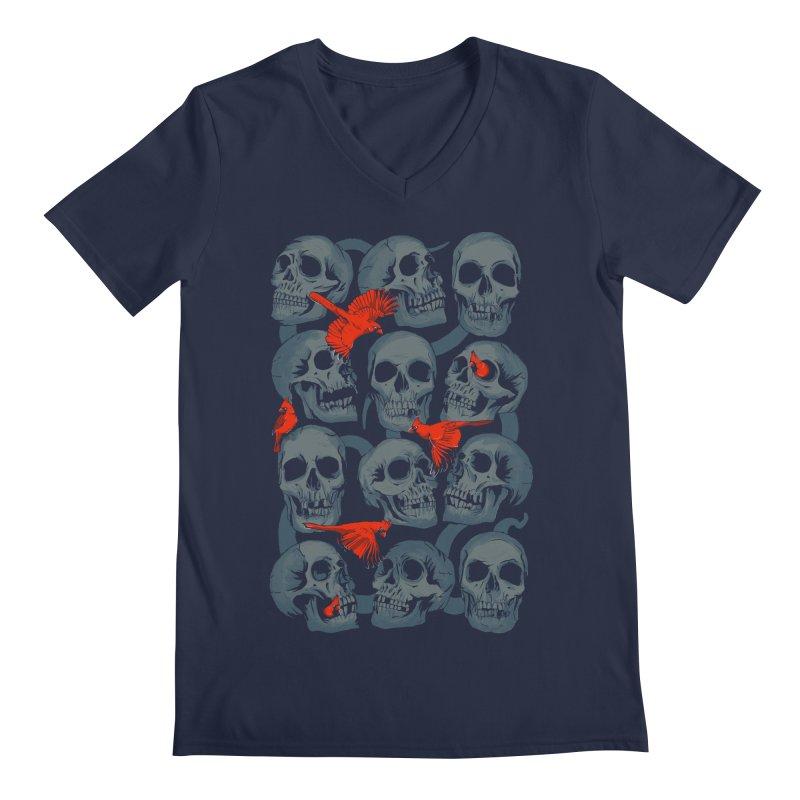 Skulls and Cardinals Men's V-Neck by Saulo Alonso's Artist Shop