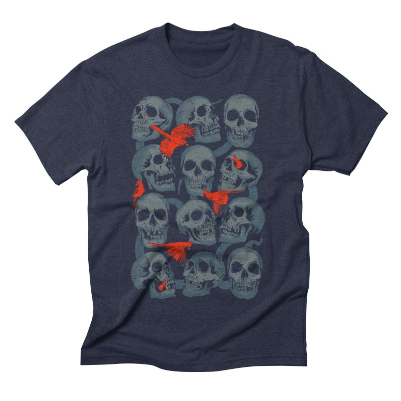Skulls and Cardinals Men's Triblend T-shirt by Saulo Alonso's Artist Shop