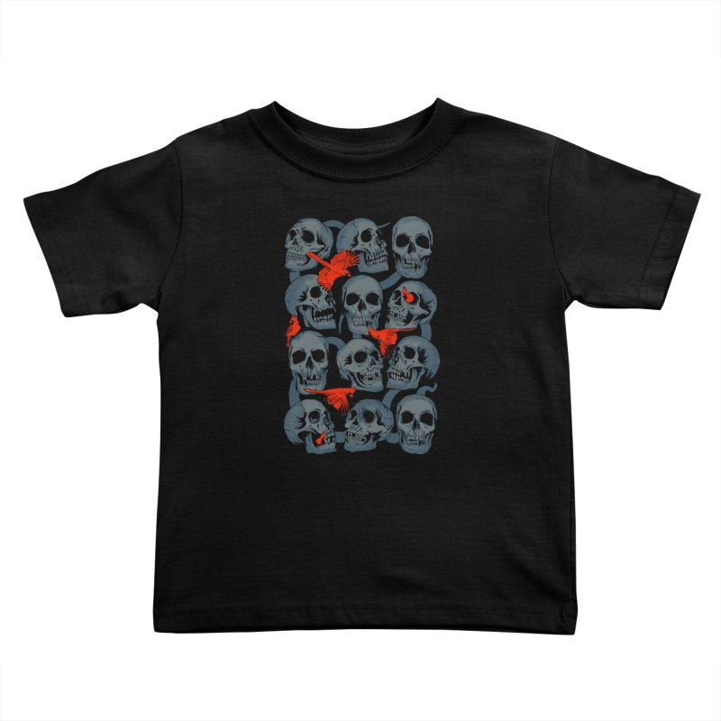 Skulls and Cardinals Kids Toddler T-Shirt by Saulo Alonso's Artist Shop