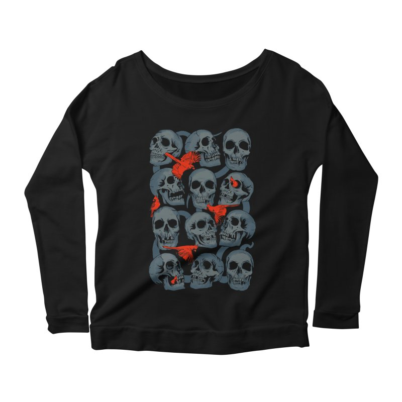 Skulls and Cardinals Women's Longsleeve Scoopneck  by Saulo Alonso's Artist Shop