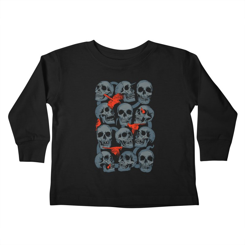Skulls and Cardinals Kids Toddler Longsleeve T-Shirt by Saulo Alonso's Artist Shop
