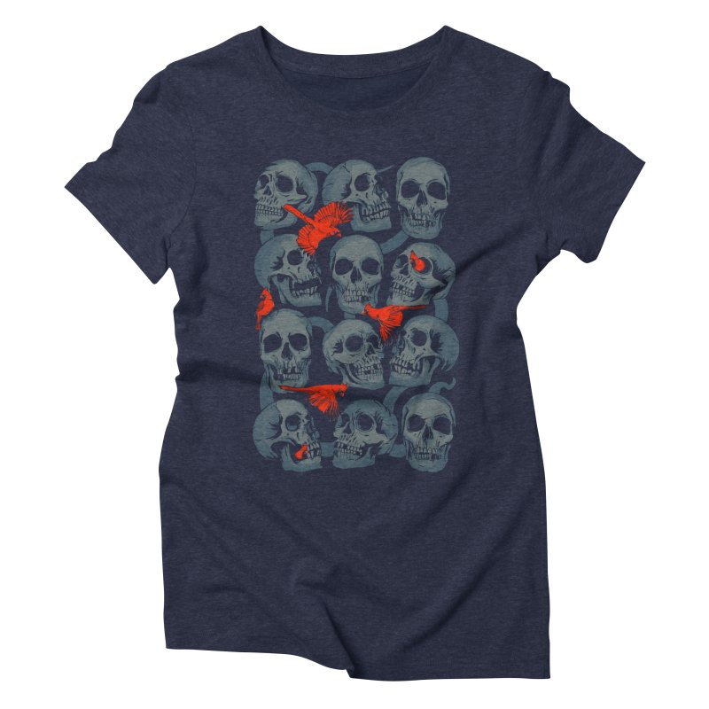 Skulls and Cardinals Women's Triblend T-Shirt by Saulo Alonso's Artist Shop