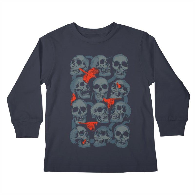 Skulls and Cardinals Kids Longsleeve T-Shirt by Saulo Alonso's Artist Shop