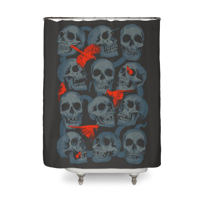 Skulls and Cardinals Home Shower Curtain by Saulo Alonso's Artist Shop
