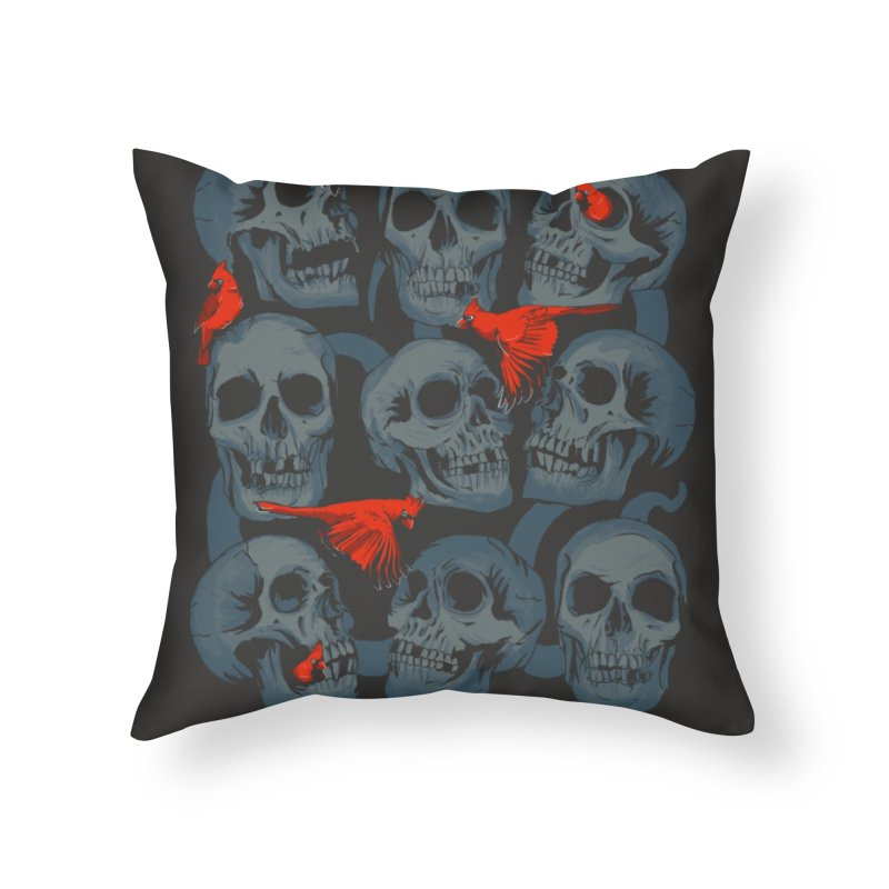 Skulls and Cardinals Home Throw Pillow by Saulo Alonso's Artist Shop