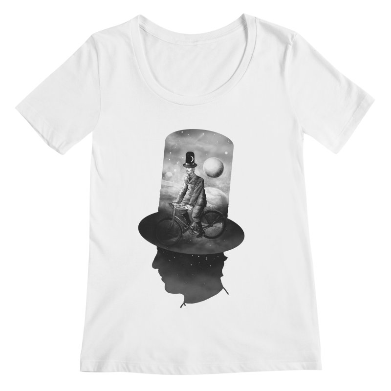 Saturn's Cyclist Women's Scoopneck by Saulo Alonso's Artist Shop