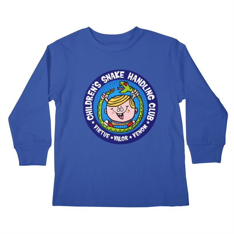 Children's Snake Handling Club Kids Longsleeve T-Shirt by SavageMonsters's Artist Shop