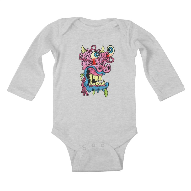 Gnarly Charlie Kids Baby Longsleeve Bodysuit by SavageMonsters's Artist Shop