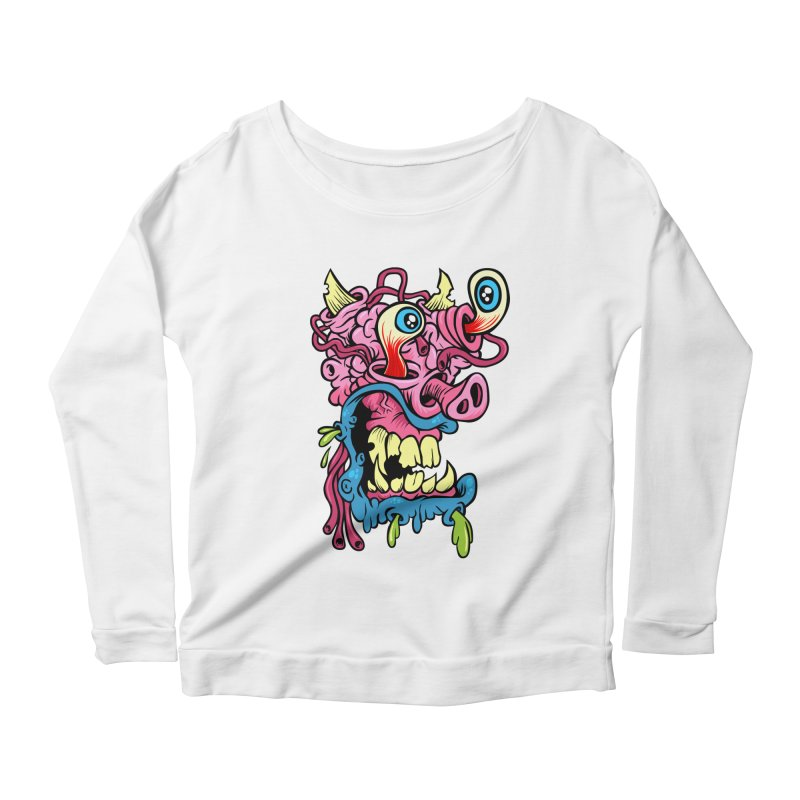 Gnarly Charlie Women's Longsleeve Scoopneck  by SavageMonsters's Artist Shop