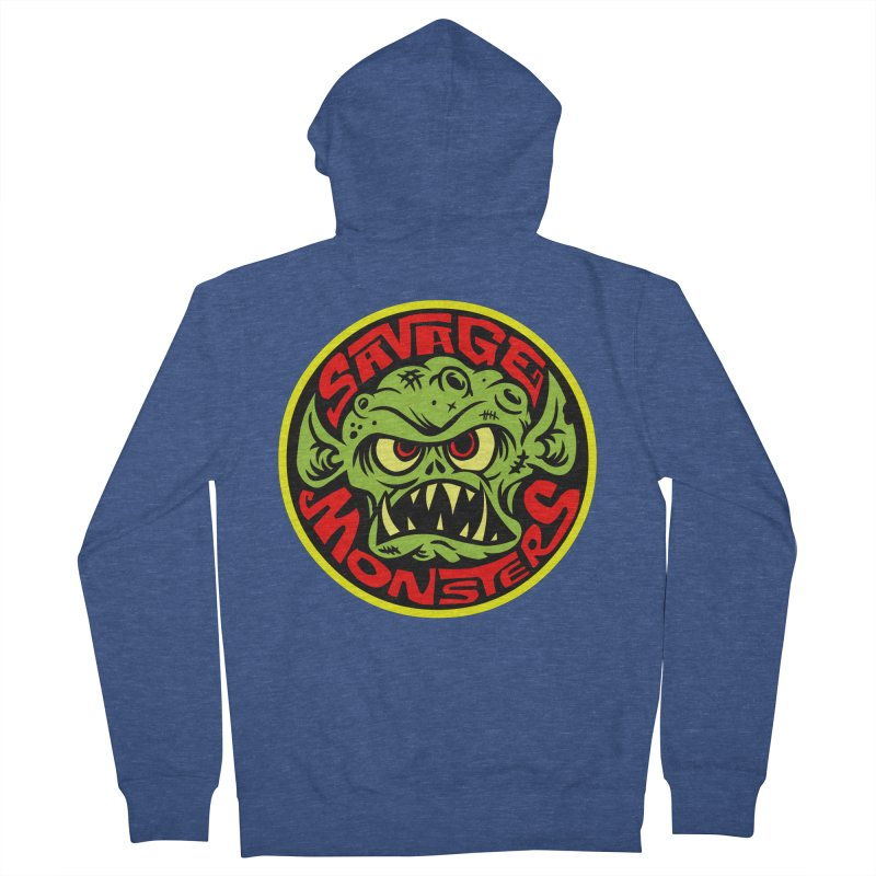 Classic Savage Monsters Logo Men's French Terry Zip-Up Hoody by SavageMonsters's Artist Shop
