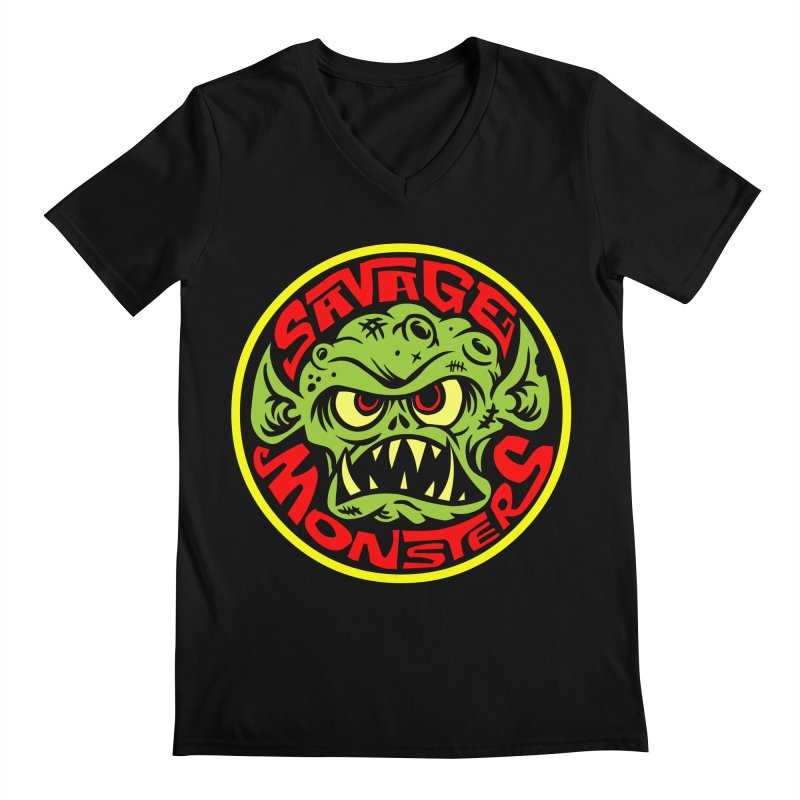 Classic Savage Monsters Logo Men's V-Neck by SavageMonsters's Artist Shop