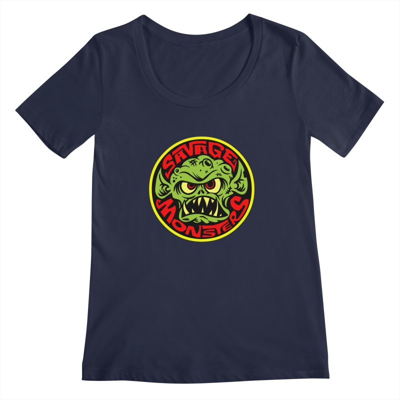 Classic Savage Monsters Logo Women's Regular Scoop Neck by SavageMonsters's Artist Shop