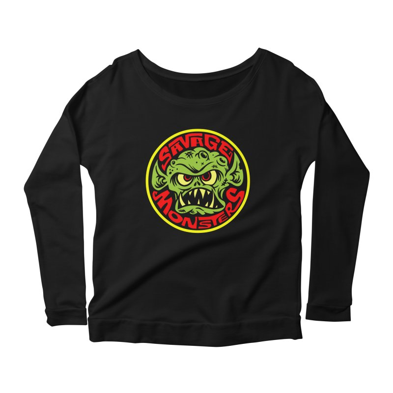 Classic Savage Monsters Logo Women's Longsleeve Scoopneck  by SavageMonsters's Artist Shop