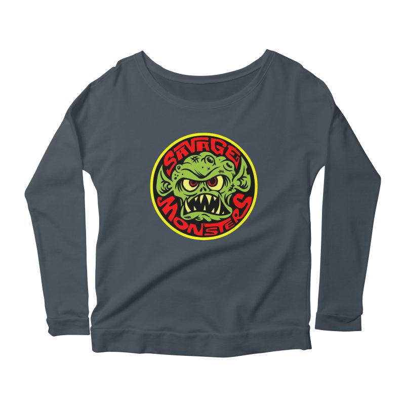 Classic Savage Monsters Logo Women's Longsleeve Scoopneck  by SavageMonsters's Artist Shop