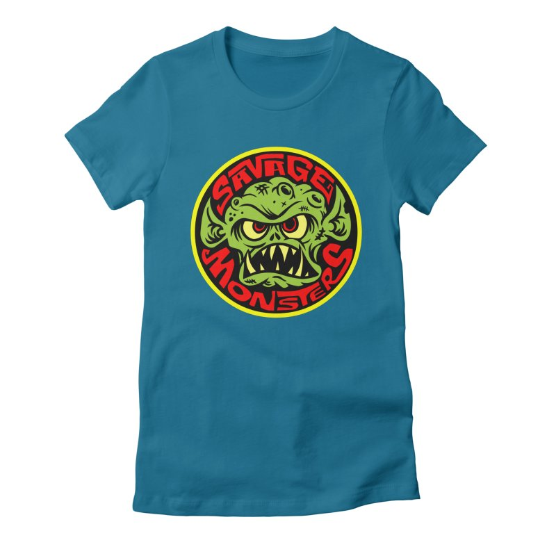 Classic Savage Monsters Logo Women's Fitted T-Shirt by SavageMonsters's Artist Shop
