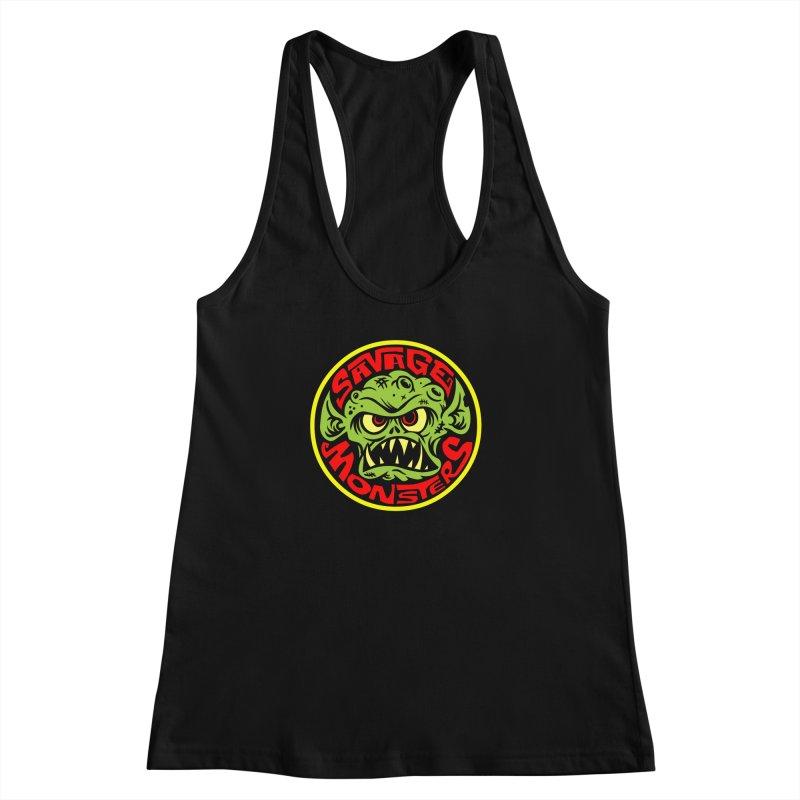Classic Savage Monsters Logo Women's Racerback Tank by SavageMonsters's Artist Shop