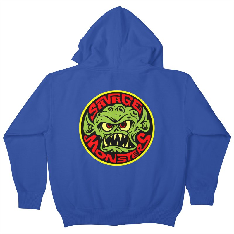 Classic Savage Monsters Logo Kids Zip-Up Hoody by SavageMonsters's Artist Shop