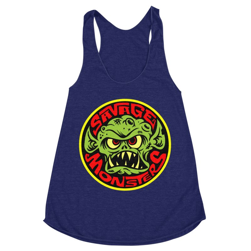 Classic Savage Monsters Logo Women's Racerback Triblend Tank by SavageMonsters's Artist Shop