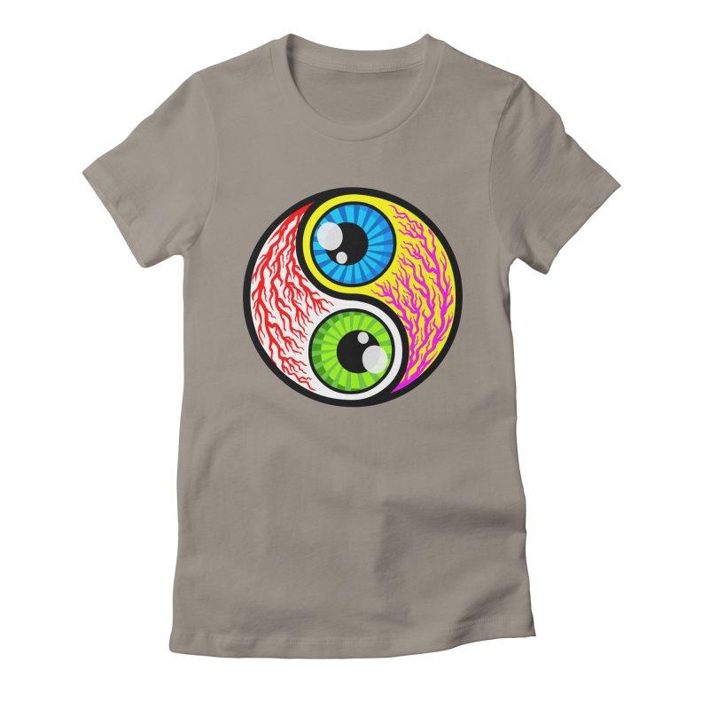 Yin Yang Eyeballs Women's Fitted T-Shirt by SavageMonsters's Artist Shop