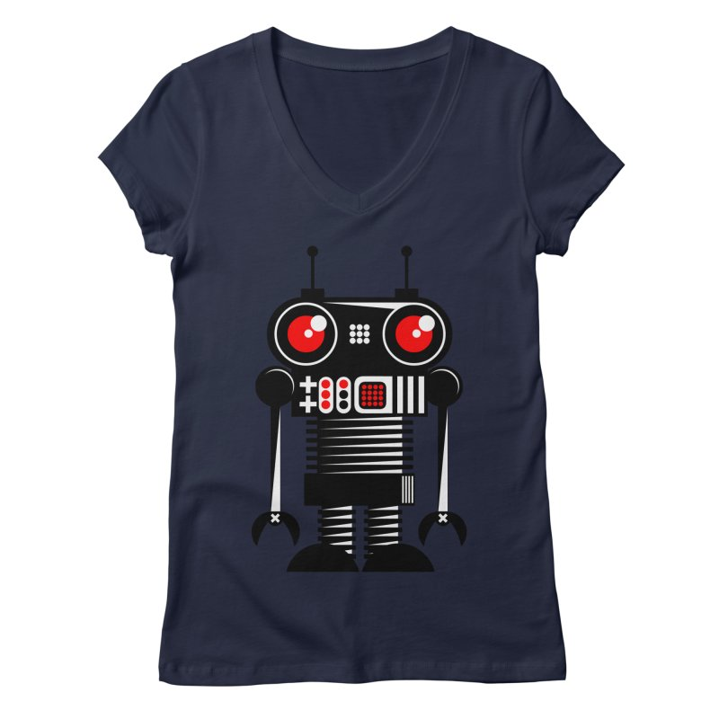 Robot 001 Women's V-Neck by SavageMonsters's Artist Shop