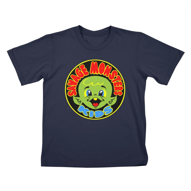 Savage Monsters Kids Logo in Kids T-shirt Navy by SavageMonsters's Artist Shop