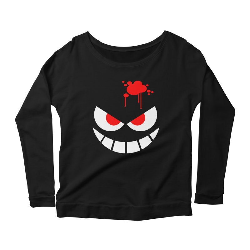 Bloody Grin Women's Longsleeve Scoopneck  by SavageMonsters's Artist Shop