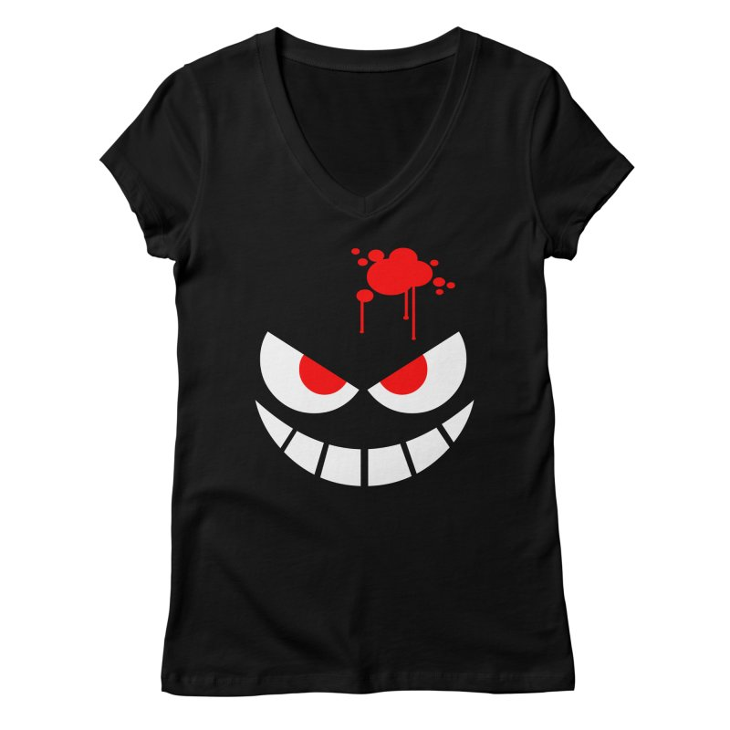 Bloody Grin Women's V-Neck by SavageMonsters's Artist Shop