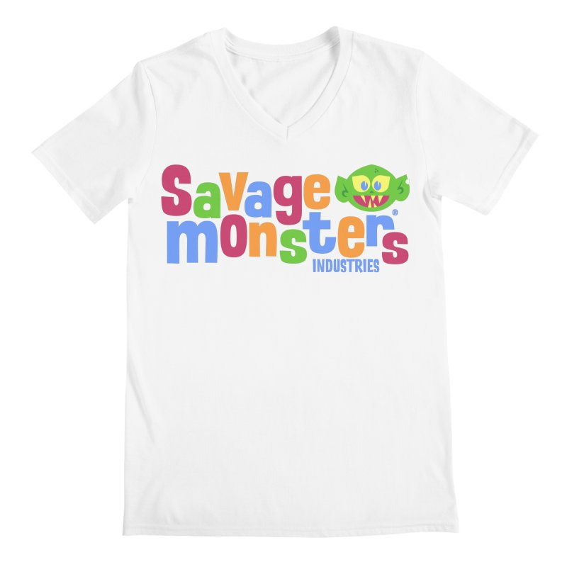 Savage Monsters Fun Logo Men's V-Neck by SavageMonsters's Artist Shop